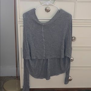 grey high low knit sweater